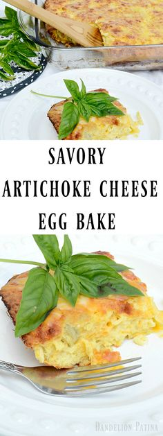 Quick and easy artichoke cheese egg bake. Such a savory breakfast casserole filled with flavor via @dandelio