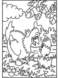 Kleurplaat Kip met kuiken - Kleurplaten.nl Easter Coloring Pages, Colouring Pages, Adult Coloring Pages, Coloring Books, Easter Crafts, Crafts For Kids, Loom Knitting, Easter Baskets, Art School