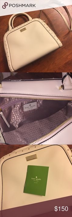NWOT KATE SPADE White Studded Satchel Never Used: Care Card Included but tags have been removed and it does not have a dust bag. 12 inches wide at the bottom, 9 inches tall and the bottom is 5 inches across. Classic lavender Kate Spade New York lining.  Impeccable condition. From a smoke-free, pet-free home. kate spade Bags Satchels