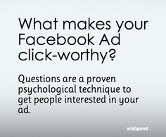 Read why questions get people thinking about your Facebook Ad. Why Questions, This Or That Questions, Call To Action, Best Practice, For Facebook, Psychology, Ads, Reading, People
