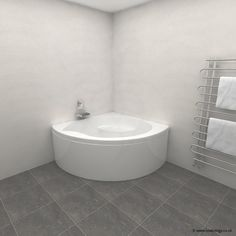 Carron Tranquillity Corner Bath 1300 x 1300 x 450mm, Carronite - White<br>Corner baths are a sensible way to use a small bathroom space - but that doe