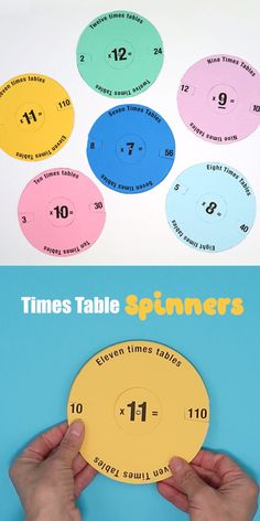 Times table spinners A fun printable DIY spinning toy to help kids practice, learn and reinforce their multiplication tables. Preschool Learning Activities, Teaching Math, Kids Learning, Division Activities, Jolly Phonics Activities, Teaching Geometry, Steam Learning, Learning English For Kids, Health Activities