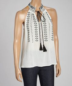 Look what I found on #zulily! Ivory & Black Embroidered Tank #zulilyfinds