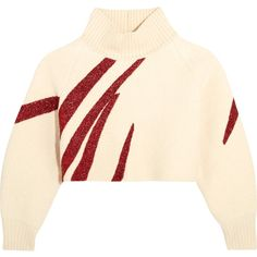 Vika Gazinskaya Oversized cropped boiled wool sweater (€510) ❤ liked on Polyvore featuring tops, sweaters, pink sweater, cream crop top, pink cropped sweater, glitter crop top and oversized cropped sweater