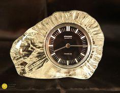 Stunning 70s Crystal Glass Desk Table Clock STAIGER Germany Mid Century Modern mcm 70s - Tischuhr Kaminuhr