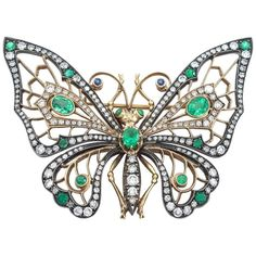 Emerald Diamond Silver and Gold Butterfly Brooch Gemstone Brooch, Diamond Brooch, Pearl Brooch, Emerald Diamond, Green Diamond, Emerald Jewelry, Diamond Jewelry, Silver Jewelry, Fine Jewelry