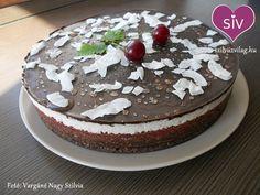 Meggyes-kókuszos csokitorta Lactose Free, Cake Recipes, Pudding, Vegan, Healthy, Sweet, Food, Cukor, Diet