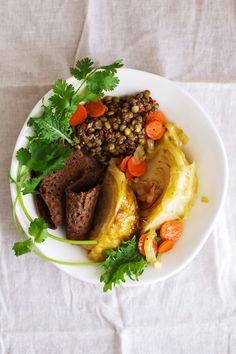 Injera w/ mustard lentils and braised cabbage via Golubka
