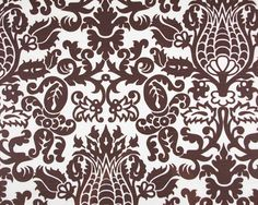 """Upholstered headboard? Pillow? 54"""" wide100% 10 oz cotton duck with slub   A gorgeous, over sized floral in a dark, chocolate-espresso brown on a creamy white slubbed cotton.  Pattern repeat measures 19"""" wide by 25"""" high.  Made of 100% cotton, medium weight canvas or """"duck"""" cotton (10 oz per yard or 300 grams)."""