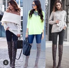 Off shoulder sweater Thigh High Boots Outfit, Off Shoulder Sweater, Winter Wardrobe, Thigh Highs, Over The Knee Boots, Autumn Winter Fashion, Winter Outfits, My Style, Fashion Trends