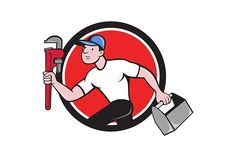 Plumber Running Toolbox Adjustable W Graphics Illustration of a plumber wearing hat running carrying adjustable wrench and toolbox viewed from the by patrimonio