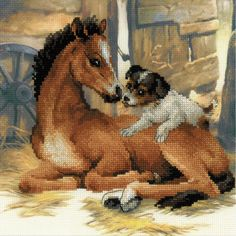 """Foal And Puppy Counted Cross Stitch Kit-11.75""""X11.75"""" 10 Count"""