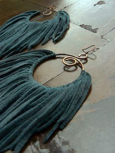 Leather Fringe Earrings/Leather Tassels/Tribal by SexySkinsLeather, $104.50