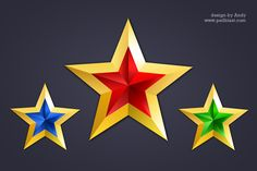 3 golden style star icon set with red, blue, green colors. It has a shiny gold base color with colorful texture. These star icons made in Photoshop , it's re sizable and color can be change from layer style > gradient overlay. Golden Star, Green Colors, Blue Green, Layer Style, Vector Shapes, Icon Set, Star Fashion, Overlays, Photoshop