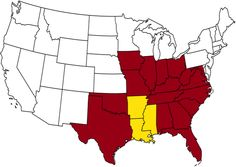 Capitol cities in each yellow state have a McDonald's that serves grits.