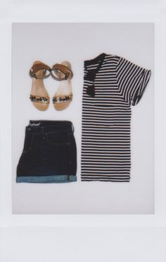 Summer days beg for striped tees. | photo by @caitlin_cawley for instax (Summer Days Outfit)