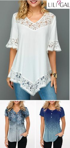 Cute Spring Summer Tops For Women 2019 - white lace blouse, floral print blouse, casual t shirts, short sleeve summer top, navy blue t shirts - Summer Blouses, Summer Tops, Spring Summer, Blouse Styles, Blouse Designs, White Lace Blouse, Floral Blouse, Floral Lace, Womens Trendy Tops