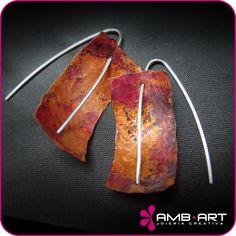 Pendientes colgantes - Pendientes de plata y cobre - hecho a mano por Ambart en DaWanda