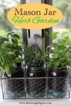 Mason Jar Herb Garden Create this easy Mason Jar Herb Garden for your window. It's the perfect container garden for herb lovers especially if you are short on space in your yard. The post Mason Jar Herb Garden appeared first on Garden Easy. Mason Jar Herbs, Mason Jar Herb Garden, Pot Mason Diy, Mason Jars, Herb Garden Design, Diy Garden, Garden Landscaping, Herbs Garden, Kitchen Herb Gardens