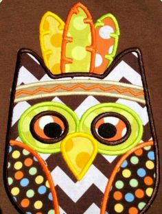 Indian Owl applique from The Lemon Drop on fb