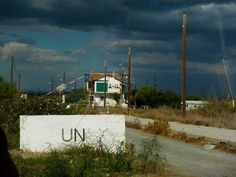 """UN check point outside Famagusta """"Ghost City"""" Cyprus."""