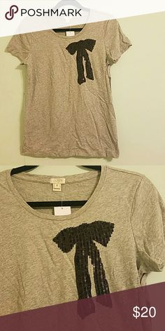 J Crew sequin bow tee 100% cotton tee with adorable black bow sequin design. J. Crew Tops Tees - Short Sleeve
