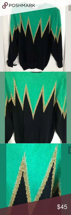 """Vintage 80s Carducci Sweater Angora Blend M Vintage 80s Carducci Sweater Womens Angora Blend Metallic Long Sleeve Pullover M  Type: Sweater Style: Geometric Abstract Metallic Long Sleeve Pullover Scoop Neck Brand: Carducci Size: Medium Material: Angora Rabbit Hair Acrylic Nylon  Color: Green Black Gold Measurements: Sleeve - 25"""" / Chest - 50"""" / Inseam - 18"""" / Length - 29""""  Condition: Excellent preowned condition - No holes, no stains, no piling.  Country of Manufacturer: China Stock Number…"""