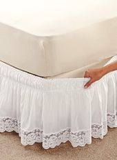 Fantastic Photo Wraparound Lace-Trimmed Bedskirt Suggestions The IKEA Kallax series Storage furniture is an essential part of any home. Home Decor Furniture, Home Decor Bedroom, Diy Home Decor, Bed Wrap, Rideaux Design, Lace Bedding, Chic Bedding, Luxury Bedding, Sofa Covers