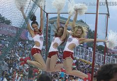 Cheerleaders get into a jubilant mode during an IPL cricket match between Mumbai Indians and Kings XI Punjab in Mohali, India. # sports #photo #India