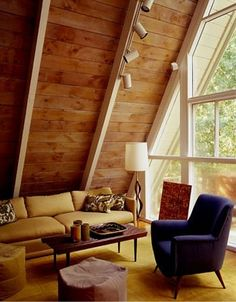 A Frame House Interior Design Intended For A Frame Cabin Transformed Into Light Filled Modern Getaway A Frame Cabin, A Frame House, Cabin Design, House Design, Mid Century Modern Living Room, Retro Home Decor, Mid Century Furniture, Modern Interior Design, Interior Ideas