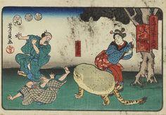 歌川 芳員(Utagawa  Yoshikazu 生没年不詳)「虎子石/東海道五十三次内 大磯 をだハらへ四り」