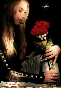 Girl with Red Rose love red art animated rose gif diamonds