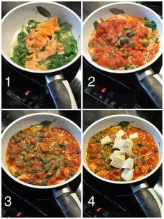 Przepis na pastę z łososiem, mozzarellą, pesto i szpinakiem