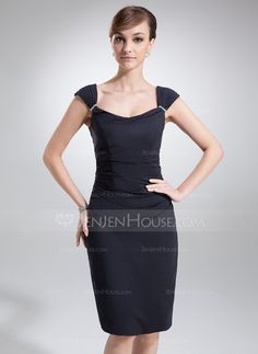 Forme Fourreau Col boule Mi-longues Mousseline Robe de mère de la mariée avec Plissé Emperler (008005617) - JenJenHouse