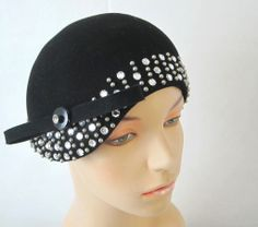 1920s Style Black Felt w Rhinestones & Bow Cloche Hat -Mr.John | From a collection of rare vintage hats at http://www.1stdibs.com/fashion/accessories/hats/