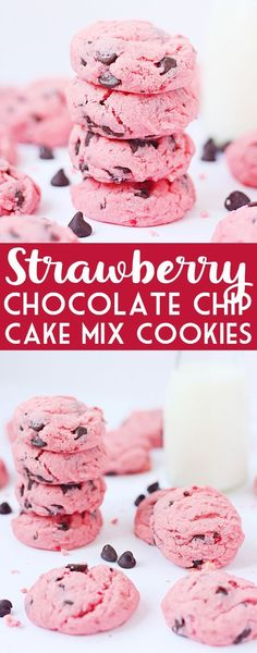 Strawberry Chocolate Chip Cake Mix Cookies -- These strawberry cake mix cookies require only five ingredients—four if you leave out the chocolate chips. You could also make them without chocolate chips and dip half of them in melted semisweet chocolate. | halfscratched.com #cookies #recipe #valentinesday