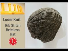 c46bc851c6f Loom Knit Hat Rib Stitch Slight Slouch Brimless Beanie for Men and Women.