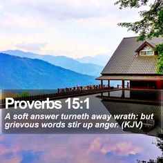 Proverbs 15:1   A soft answer turneth away wrath: but grievous words stir up anger. (KJV)   #Bible #Positivity #BibleVerses #QuoteOfTheDay   http://www.bible-sms.com/