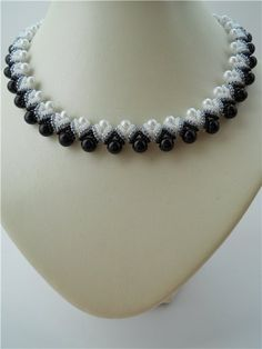 #Beads #Necklace #Seed #Round #Black #White