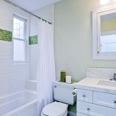 White subway tile with red accent google search for Red accent bathroom