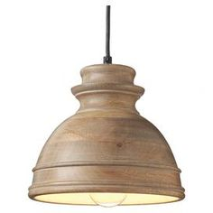 "Cast a warm glow over your kitchen or living room with this handsome pendant, crafted from wood and featuring a brown hue.   Product: PendantConstruction Material: Wood and metalColor: BrownFeatures: Carved detailsAccommodates: (1) 40 Watt bulb - not includedDimensions: 9"" H x 9"" Diameter"