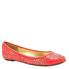Elaine Turner - Paige Coral Laser-Cut Patent Leather Ballet Flat