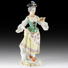 Meissen Porzellan Figuren  Sängerin  aus  Galanten Kapelle , Modell-No. 60036