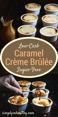 This Low-Carb Caramel Crème Brûlée has a rich vanilla custard hiding pools of gooey caramel. The crisp sweet shell provides a lovely textural contrast to the creamy custard, This recipe works with low-carb, ketogenic, Atkins, gluten-free, grain-free and Banting diets.