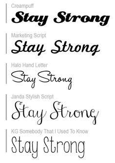Typographic Tattoos — I want to get a tattoo of the words 'Stay Strong'...
