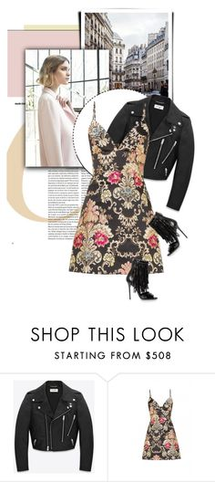 """""""Town Chic"""" by firstboutique ❤ liked on Polyvore featuring Nuevo, Yves Saint Laurent and Brian Atwood"""
