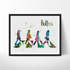 The Beatles Watercolor Art. This art illustration is a composition of digital watercolor images and silhouettes in a minimalist style.