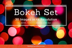 Bokeh Photos Backgrounds Set Graphics This pack includes 30 different Bokeh images, mix of textures, backgrounds and photos will allow you by Backgrounds Store