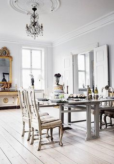 All White Dining Room Elegant Whiteout Almost All White Rooms E Kings Lane All White Room, White Rooms, White Walls, Gray Walls, White Space, Swedish Interiors, Scandinavian Interior, French Interiors, White Interior Design