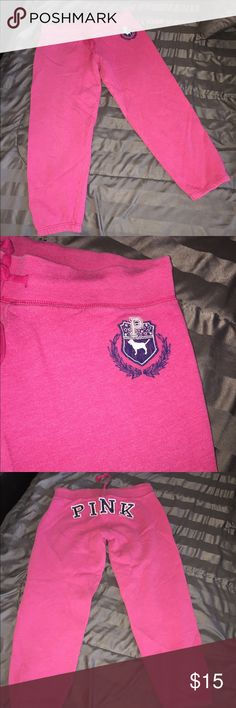 💖VICTORIA SECRET PINK CROP SWEATS SIZE M💖 THESE ARE IN EXCELLENT CONDITION.  NO STAINS, A LITTLE PILING.  SWEATS ARE DRAWSTRINGS.  SLIGHT LITTLE HOLE AS SEEN IN PICTURE.  VERY WARM AND COMFORTABLE. PINK Victoria's Secret Pants Track Pants & Joggers